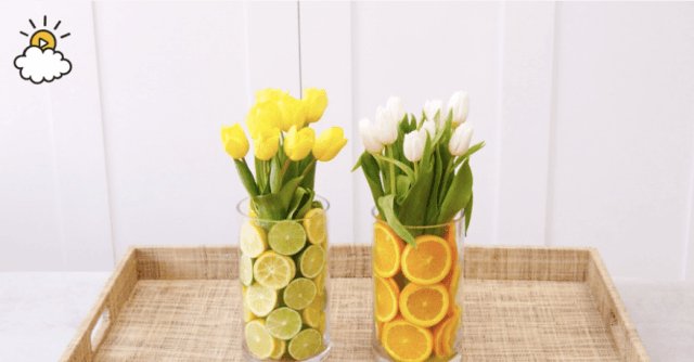 two citrus flower centerpieces
