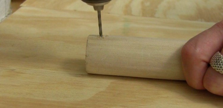 power drill into the wood dowel