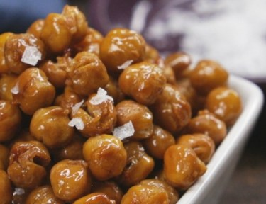 Close-up of bowl of honey roasted chickpeas