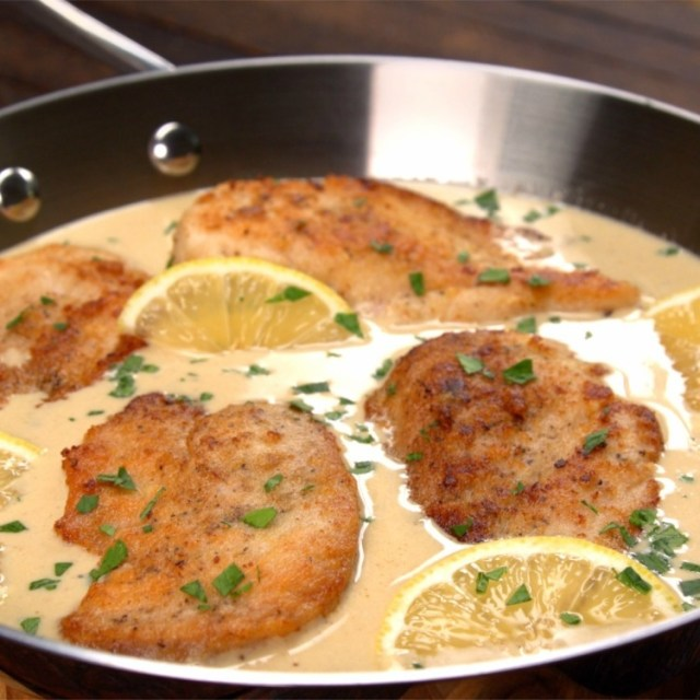 Cooking creamy lemon Parmesan chicken piccatta