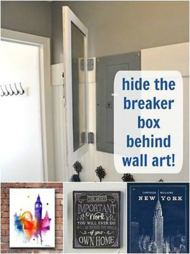 Hide fuse box behind wall art.