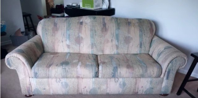 view of ugly patterned couch