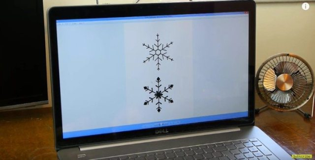 Snowflake templates on computer.
