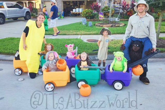 quints family during Halloween