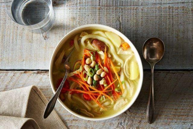 Massaman inspired chicken noodle soup.