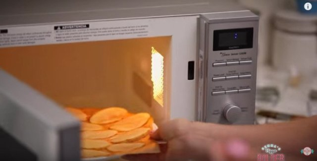 Homemade chips coming out of the microwave.