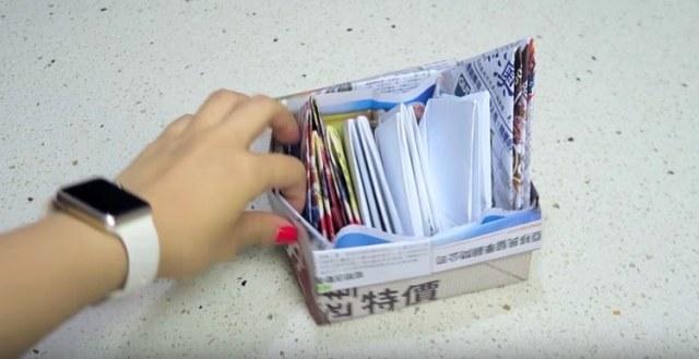Handmade paper box for trash.