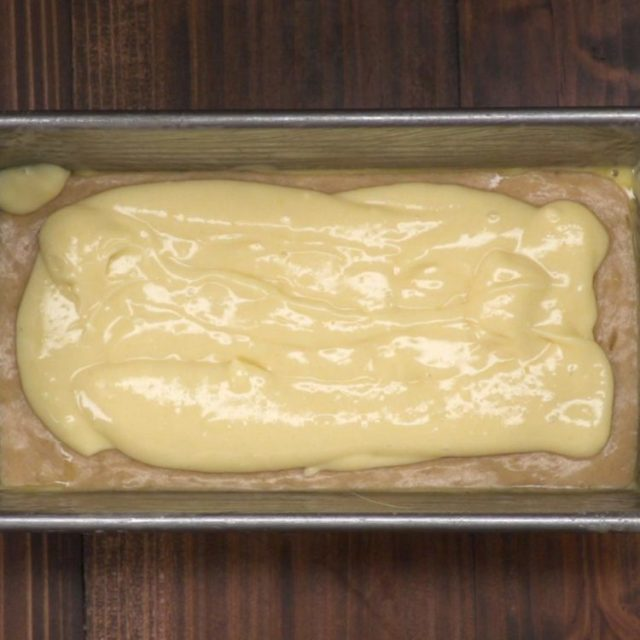 Cream-Cheese-Filled Banana Bread batter