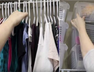 woman displaying hangers and plastic bins in closets