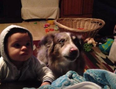 """Mom tries to get baby to say """"mama""""."""