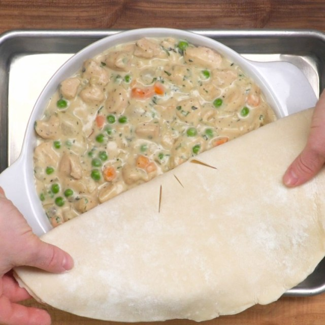 Place the dough on top of the pie filling