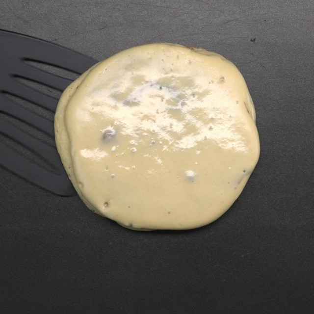 When the batter begins to bubble the pancake is ready to be flipped