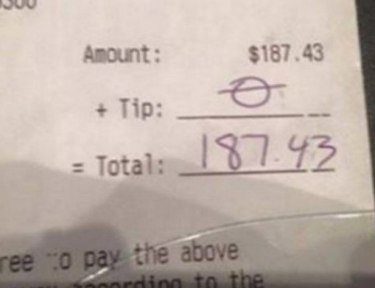 Waitress left with no tip.