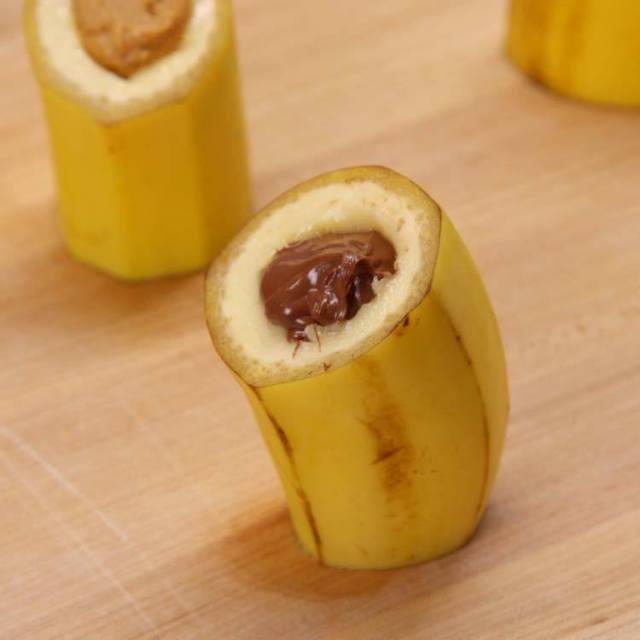 Fried Banana Chocolate Bites stuffed bananas