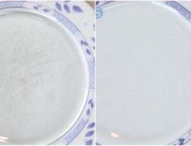 split image of before and after of plate after cleaning technique