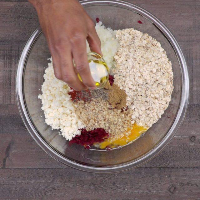 Beet and Feta Burgers ingredients in bowl