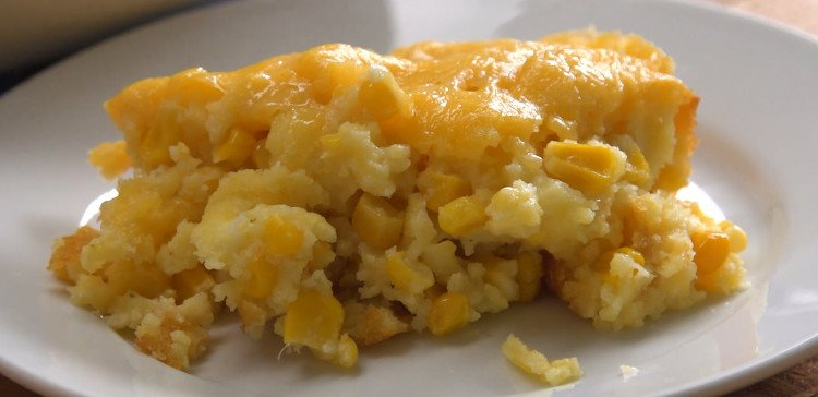 Corn Casserole plated close-up featured image