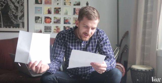 Husband looks through hospital paperwork