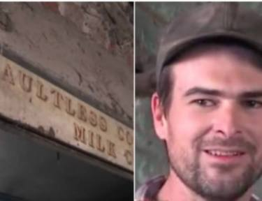 split image of contractor and sign above door
