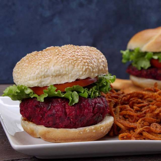 Beet and Feta Burgers finished product bun sweet potato fries