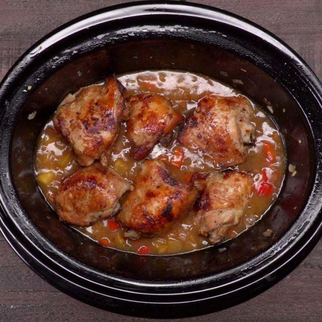 Slow Cooker Pineapple Chicken in crockpot