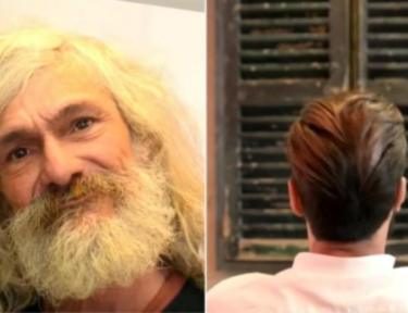 split screen of homeless man and back of head