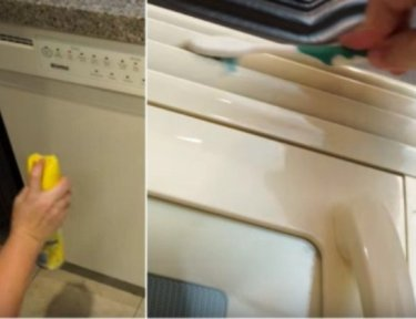 splitscreen of person cleaning older white appliances