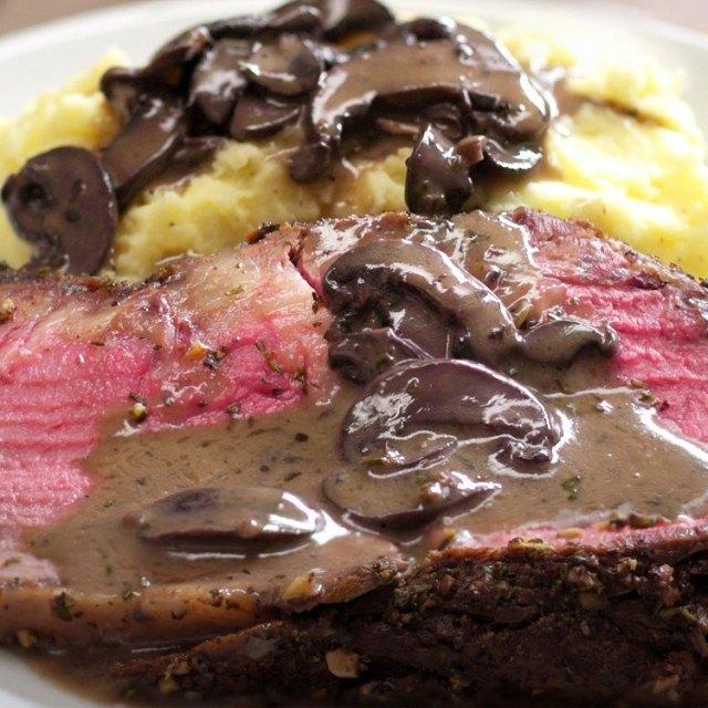 Herb and Garlic Prime Rib Roast red wine mushroom sauce mashed potatoes