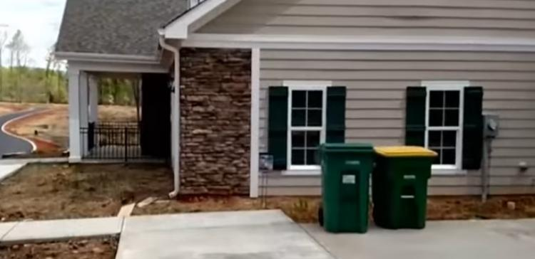 Side of house with wrongly-placed driveway