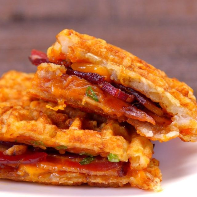 Tater Tot Grilled Cheese waffle sandwich