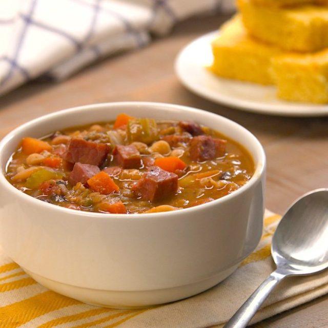 Slow Cooker Ham & Bean Soup bowl cornbread spoon