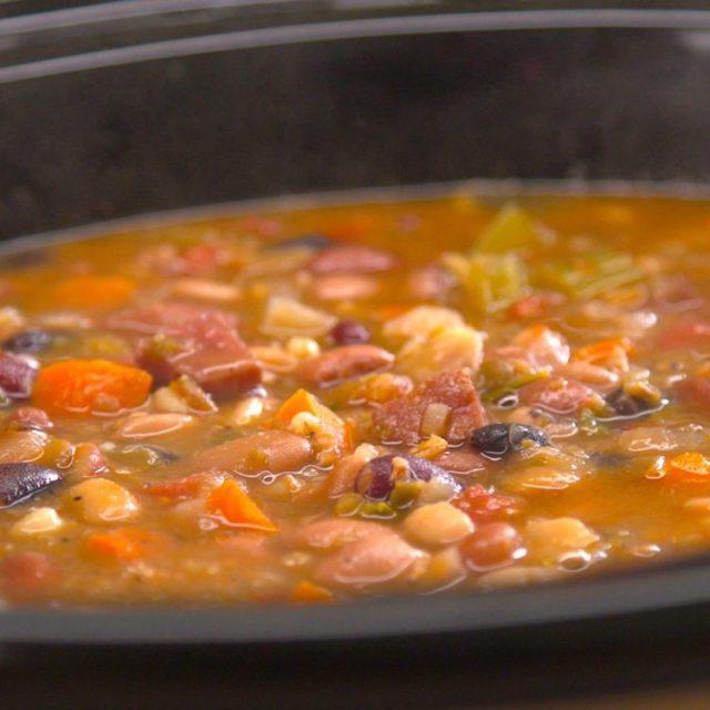 Slow Cooker Ham & Bean Soup crock pot close-up side shot