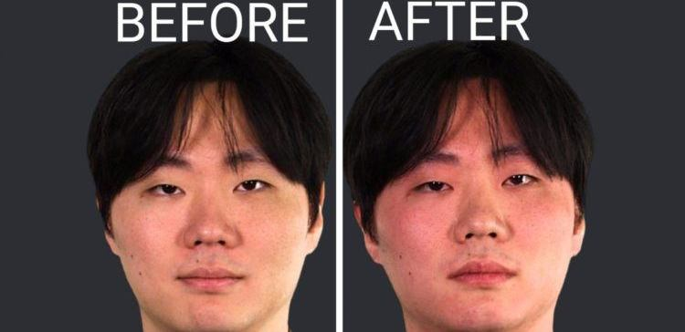 Pic of man's face before and after drinking.