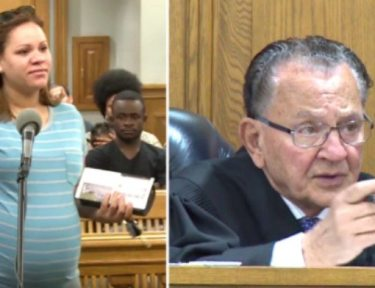 split screen of pregnant defendant and Judge Caprio in courtroom
