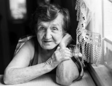 black and white photo of old woman