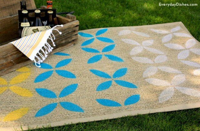 stenciled outdoor rug