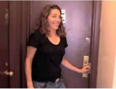 Felice Cohen in front of front door