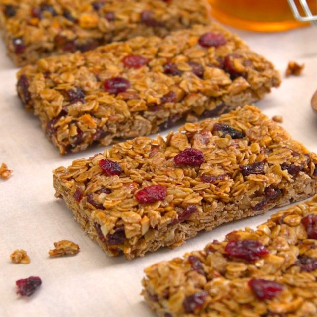 These oats n' honey granola bars are loaded with almonds & cranberries, taste like granola clusters, and are strong enough to stand up to a trip in a backpack.