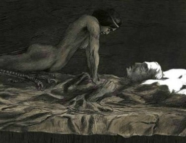 Image of succubus on man.