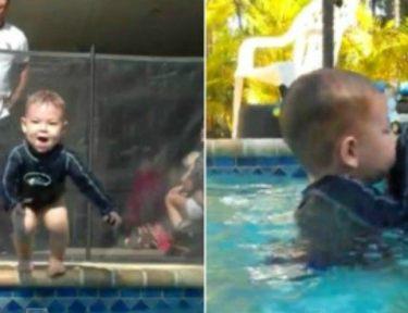 splitscreen of baby Aiden swimming