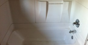 New fiberglass sectional tub and shower replacement with Delta valve