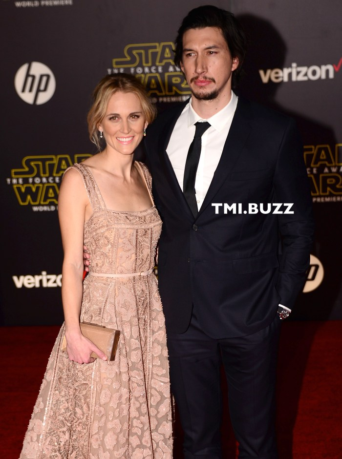 Adam Driver and wife Joanne Tucker at the Premiere Of Walt Disney Pictures And Lucasfilm's 'Star Wars: The Force Awakens' on December 14, 2015 in Hollywood, California.