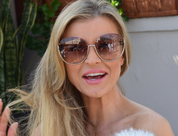 Real hpusewives of Miami star Joanna Krupa is all smiles as she and her dog leave Il Pistaio restaurant in Beverly Hills, Ca  Picture by: London Entertainment/Splash   Ref: LELA 230318 B  Splash News and Pictures Los Angeles: 310-821-2666 New York: 212-619-2666 London: 207-107-2666 photodesk@splashnews.com www.splashnews.com