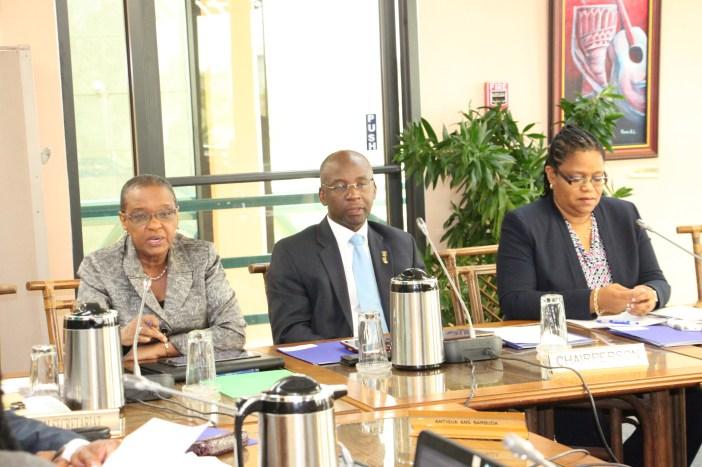 (L-R), Ms. Myrna Bernard, Director Human Development, CARICOM Secretariat, Hon. Stephen Lashley, Barbados Minister of Culture, and Dr. Hilary Brown, Programme Manager, Culture and Community Development, CARICOM Secretariat