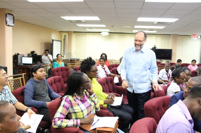 CARICOM Secretary-General, Ambassador Irwin LaRocque interacts with youth at the Secretariat earlier this year