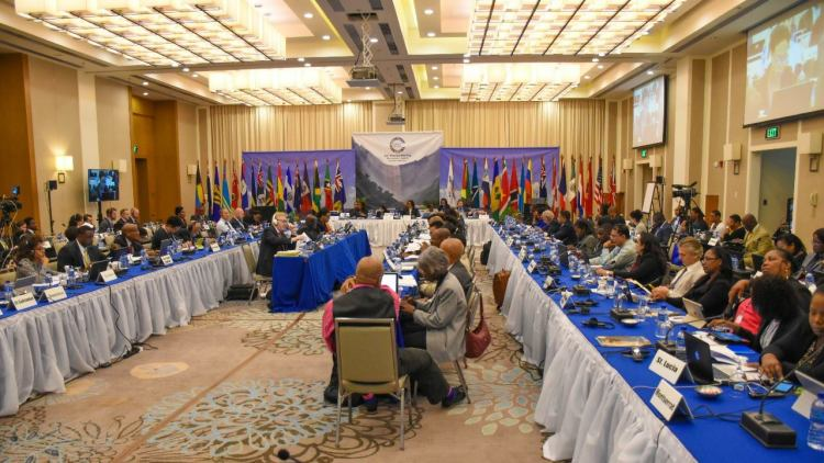 Delegates at the CFATF Meeting in Georgetown, Guyana (Photo via Department of Public Information)