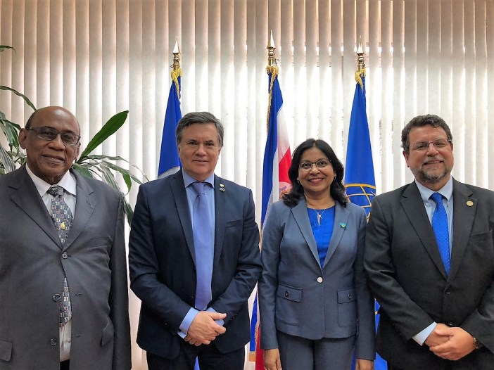 From left: Dr. Arlington Chesney, former Regional Director of IICA; Dr. Manuel Ortero, Director General of IICA; Ms. Nisa Surujbally, Programme Manager, Agriculture and Industry, CARICOM Secretariat; Mr. Diego Montenegro, Director of Management and Regional Integration of IICA