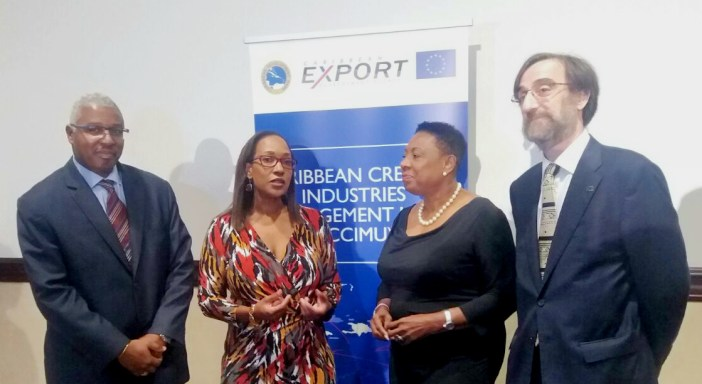 Officials chat during the stakeholder consultation on the establishment of the CCIMU in Jamaica on April 12, 2016. From left are: Edward Greene, Division Chief, Technical Cooperation Division, CDB; Pamela Coke-Hamilton, Executive Director, Caribbean Export; Hon. Olivia Grange, Minister of Culture, Gender, Entertainment and Sport, Jamaica; and Mr Jesús Orús Báguena, Chargé D' Affaires a.i., Acting Head of Delegation of the European Union to Jamaica, Belize, The Bahamas, Turks & Caicos Islands and Cayman Islands.