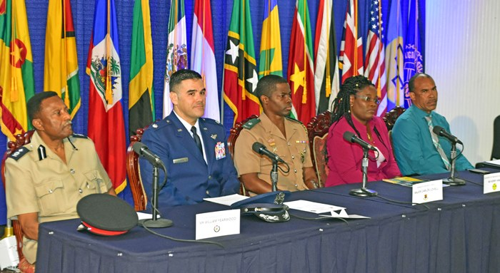 From left to right: Assistant Commissioner of Police, William Yearwood; Chief of Office of Security Operation in the U.S. Military Liaison Office, Lt. Col. Jorge Jaramillio; Host nation Co-director, Major Carlos Lovell; Host nation Co-Director, Kerry Hinds; and RSS Director of Training, retired Captain Brian Roberts at today's media launch for Exercise Tradewinds 2017. (Photo by C.Pitt via BGIS)