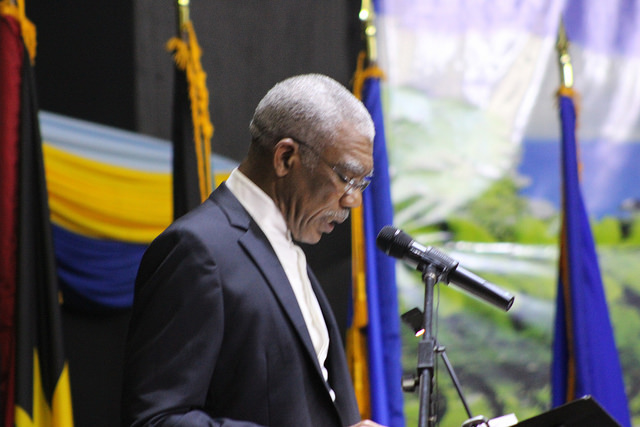 Outgoing Chairman of CARICOM, H.E. David Granger, President of Guyana delivering his address to the Conference
